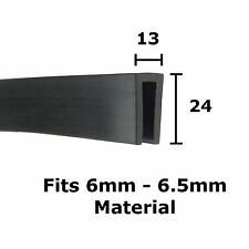 BLACK Rubber U Channel Edging Trim Seal 24mm x 13mm from The Metal House