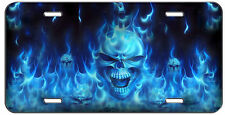 CUSTOM LICENSE PLATE BLUE FLAMING SKULLS AUTO TAG