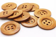 Extra Large Brown Wooden Button Raised Edge Coat Beige Four Holes DIY 50mm 10pcs
