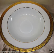 "SAKURA 1997 GOLD PORCELAIN RIM SOUP BOWL 8 1/2"" GOLD LAUREL BAND & GOLD VERGE"