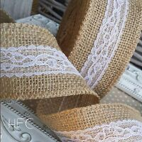 Natural Jute Hessian & White Lace Ribbon. 50mm. Vintage, Wedding, Rustic, Floral