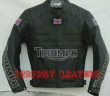 Men Custom Full  Black Motorcycle Leather Jacket Safety Pads For Triumph UK Flag