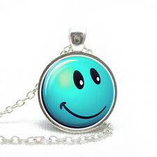 Fashion Light Blue Emotion Happy Face Smile Emoji Pendant Necklace N459