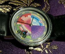 Neat Motorcyle Guy Mystery Dial Quartz Vintage Watch Leather Band