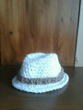 handmade Crochet Baby trilby hat fedora cowboy 0-3 months photo props