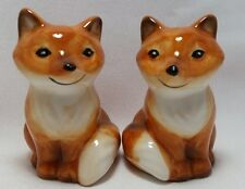 Sly Fox Salt and Pepper Shakers Set Hand Painted 3-D Figural Orange Brown New