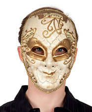 DELUXE MENS LADIES VENETIAN MASK GOLD HALLOWEEN VENICE MASQUERADE BALL NEW