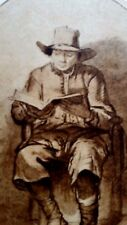 Rembrandt Heliogravure France 1800,s 8.25x11.9 on Japon Seated reader