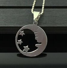 Moon Star Womens Men's Silver Stainless Steel Titanium Pendant Necklace HOT