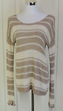 Lucky Brand S Taupe Brown & Cream Slouch Open Knit Weave Striped Trendy Sweater