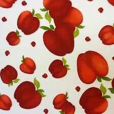 Ivory 100% Cotton with Red Apple Print Fabric *Per Metre