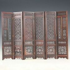 Hand-carved Chinese Boxwood Sculpture Folding Screen #1