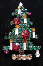 VINTAGE WEISS 6 CANDLE CHRISTMAS TREE PIN WITH JAPANNED BACK 021707