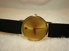 Rare MOVADO Museum GOLD Dial Men's 30 mm Sapphire Crystal Thin Watch