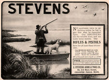 EARLY 1900  AD STEVENS ARMS AND TOOL CO CHICOPEE FALLS HUNTER DOG DUCKS SHOTGUN