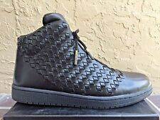 $400 Air Jordan Shine Black Woven Leather Luxury Dress Sneakers - Size 11 Shoes