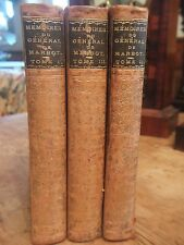 "3 RARE ANTIQUE (1892) VOLUMES ""MEMOIRES DU GENERA; DE MARBOT"