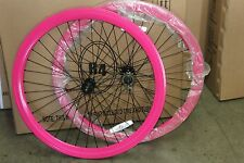 NEW R4 PINK DEEP V WHEEL SET 700C FIXED GEAR SINGLE SPEED FLIP FLOP HUB