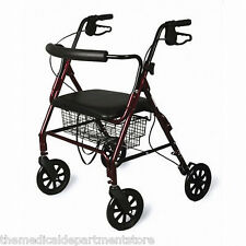 Medline Bariatric Heavy Duty Wide Rollator Walker Red
