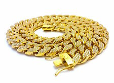 Mens Iced Out Gold CZ 18mm Miami Cuban Link Chain Thick Heavy Necklace Box Clasp