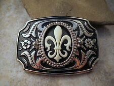 Handmade Antique Silver Steampunk Fleur De Lis Cameo Belt Buckle