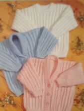 Knitting Pattern For Baby's Cardigans & Sweater  D.k Yarn Sizes 12-24 Inch