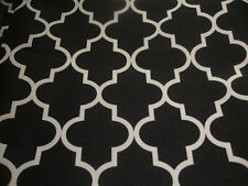 """Outdoor Upholstery Moroccan White on Black Waterproof Canvas fabric 60"""" Wide"""