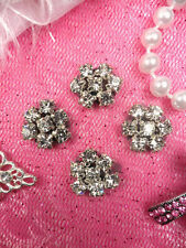 "JB114 Set of ( 4 )Black Backing Flower Clear Rhinestone Appliques .5"" ~BKCR~"