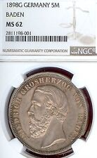 German States Baden 1898 G 5 Mark Coin Thaler NGC MS 62 Taler F.ST/STG RARE UNC