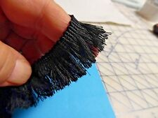 "FINE THREAD BRUSH FRINGE~1""~COTTON/RAYON~JET BLACK~BY THE YARD~DOLL TRIM"