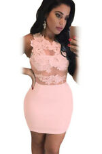 Pink Lace Mesh Applique Bodycon Mini Dress club wear size 8-10