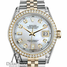 Woman'sRolex Stainless Steel/Gold 26mm Datejust Watch White MOP 8+2 Diamond Dial