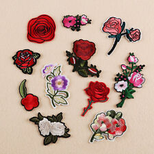 11Pcs Embroidery Rose Flower Sew Iron On Patch Badge Bag Hat Dress Applique DIY