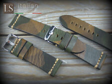 Cinturino in Pelle Bufalo Vintage ILLINOIS 24 mm Watch Strap Band Camo