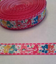 Care Bear in pink ribbon, 22 mm (2 metre), ideal for bows, cakes & crafts