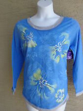 NWT Just  My Size L/S Scoop Neck Glitzy Graphic Twofer Tee Top Blue Multi 5X