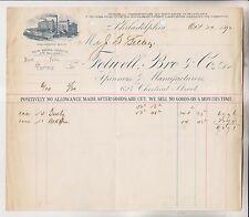 1890 BILLHEAD - FOLWELL BRO & CO. - PHILADELPHIA - COLLINGWOOD MILLS