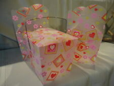 (3) Valentine Take Away Designed Hearts Frosted Plastic Container Handle Unused