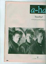 "A-HA Touchy UK magazine ADVERT / mini Poster 11x8"""
