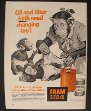 1956 Fram Motor Oil Filters Mother Chimp Babies Monkees Baby Art Promo Trade AD
