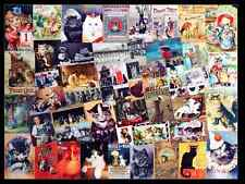 ORIGINAL ART - VINTAGE CATS THEME - COLLAGE - KITTENS PUSS ADS BOOKS POSTCARDS