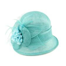 1920 Flapper Sinamay Flower Feather Net Cloche Bell Bucket Church Hat Turquoise
