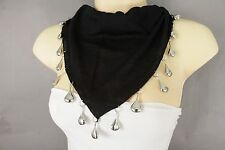 Fun Women Fashion Short Black Tie Necklace Soft Scarf Silver Drop Charms Pendant
