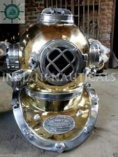 Boston Navy Divers Mark V Brass/Aluminum Diving Helmet Marine Deep Sea