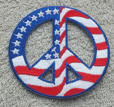 "USA PEACE SIGN PATCH 3"" Cloth Badge/Emblem American Flag Biker Jacket Iron Sew"