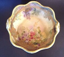 Large Nippon Ruffled Bowl - Hand Painted Grape Theme With Gilded Accents