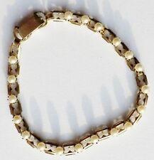 bracelet ancien bijou vintage maillon déco perle blanche griffé haut * 3301