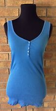 FREE PEOPLE ROYAL BLUE RIBBED FLOWER BUTTON TANK TOP SIZE LARGE