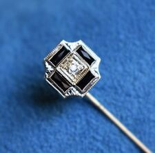 SUPERB Antique Diamond 14Kt White Gold Filigree Art Deco Lapel Tie Stick Pin
