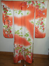 Hand Painted Japanese Silk Wedding Furisode Kakeshita Kimono w/ Embroidery